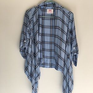 Girl's Justice Blue Plaid Sweater